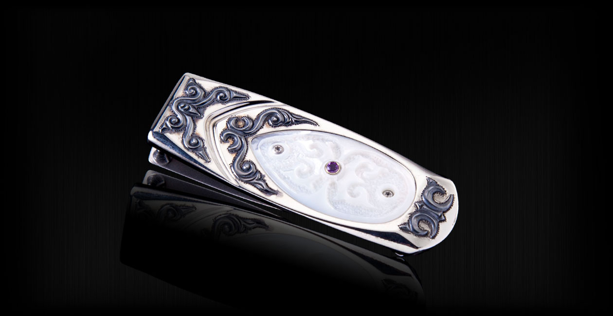 Mother of pearl and sterling silver money clip