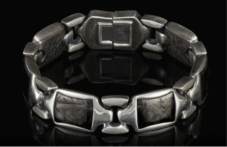 william henry Sterling silver carbon-fiber bracelet