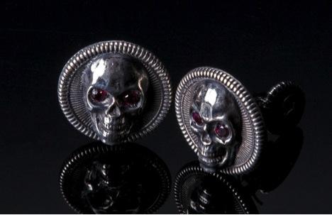 William henry sterling silver skull cuff links