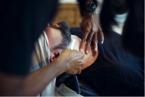 barber shaving beard