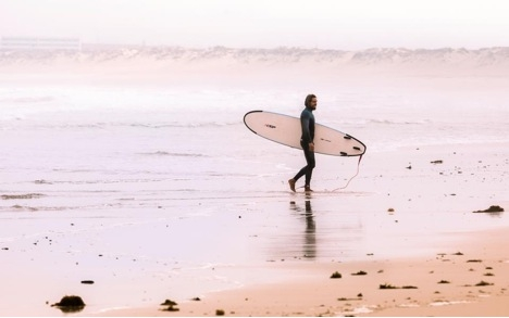 surfer in wetsuit with surfboard