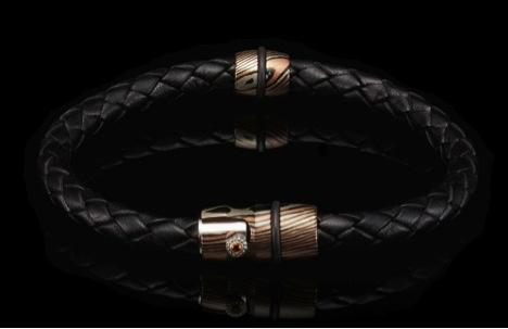 william henry braided leather bracelet with mokume gane