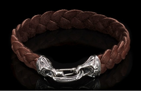 william henry deerskin bracelet with sterling silver