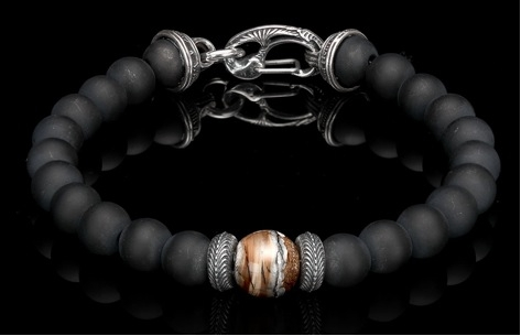 william henry onyx bead bracelet with dinosour bone