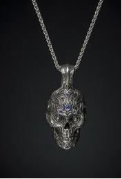 william henry sterling silver skull pendant