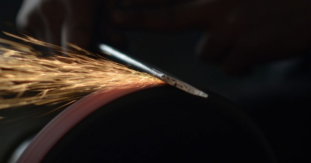 Sparks From Knife Sharpening