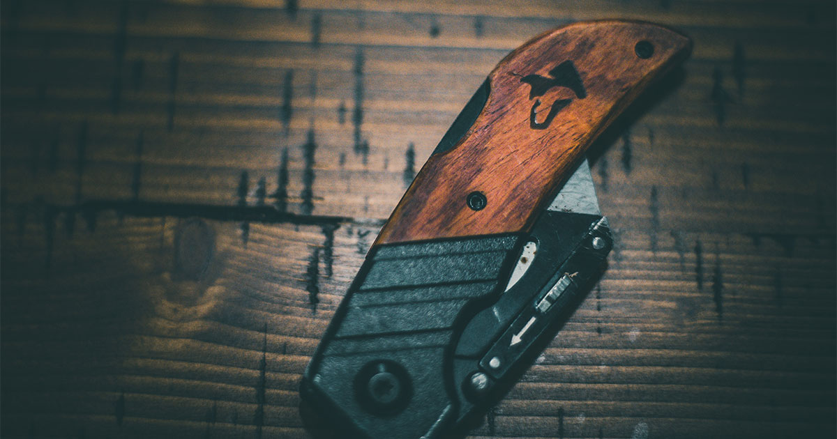 Black and Brown Folding Knife