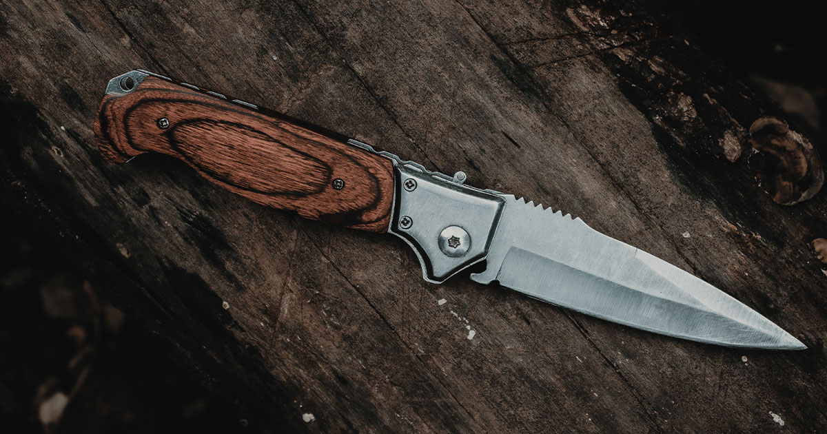 Wooden Brown Folding Knife